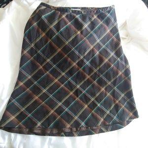 LOFT Size 8 Plaid Brown Teal A-Line Skirt Wool